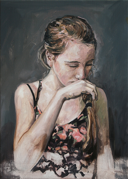 emma's thoughts herve martijn painting peinture schilderij thinking girl