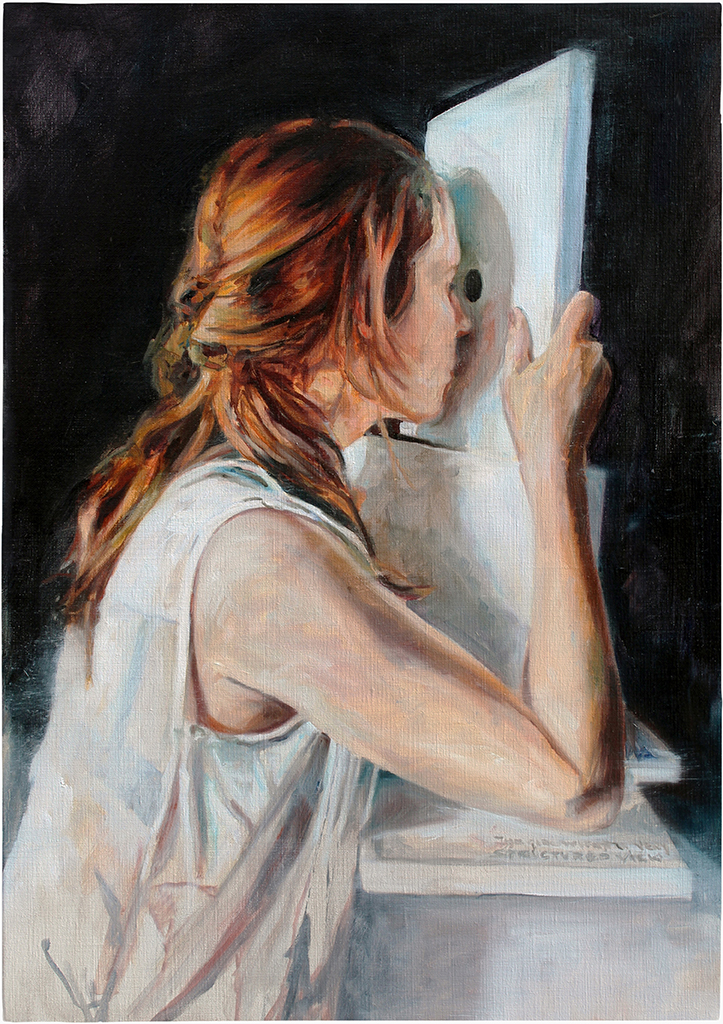 the girl with the very structured view 85x60 cm herve martijn